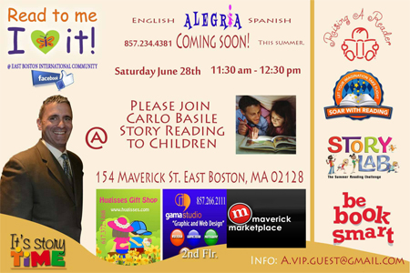 Carlo Reads to Children June 28